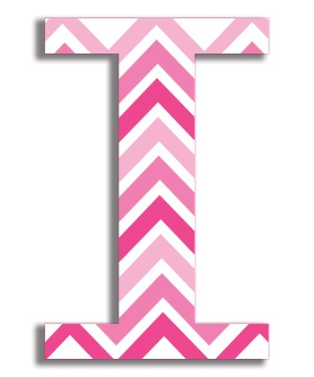 Pink Zigzag 'I' Wall Art