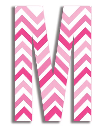 Pink Zigzag 'M' Wall Art