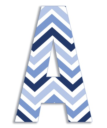 Blue Zigzag 'A' Wall Art