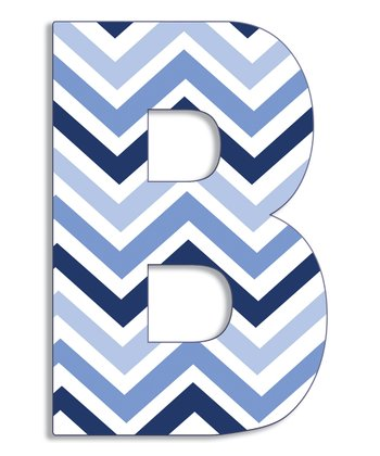 Blue Zigzag 'B' Wall Art