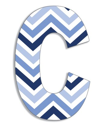 Blue Zigzag 'C' Wall Art