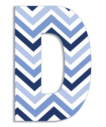 Blue Zigzag 'D' Wall Art
