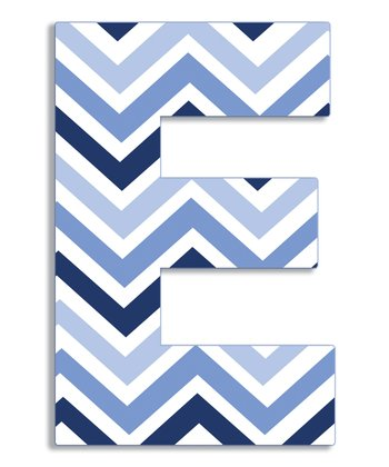 Blue Zigzag 'E' Wall Art