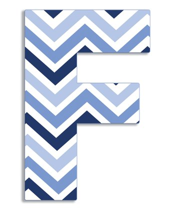 Blue Zigzag 'F' Wall Art