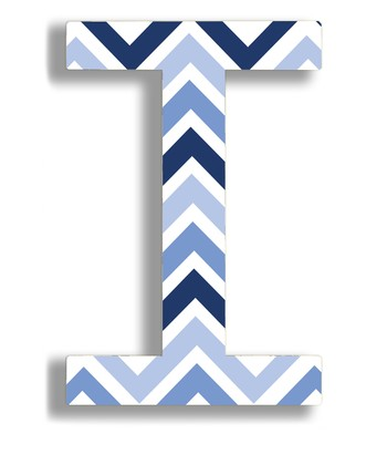 Blue Zigzag 'I' Wall Art