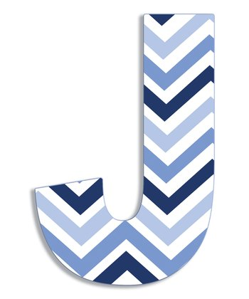 Blue Zigzag 'J' Wall Art