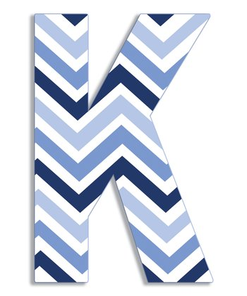 Blue Zigzag 'K' Wall Art