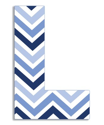 Blue Zigzag 'L' Wall Art