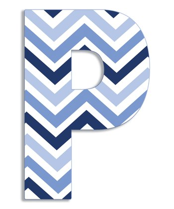 Blue Zigzag 'P' Wall Art