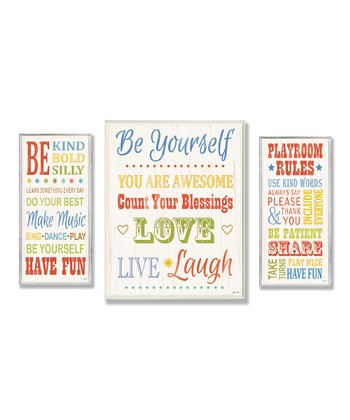 Rainbow Typography Oversize Wall Plaque Set