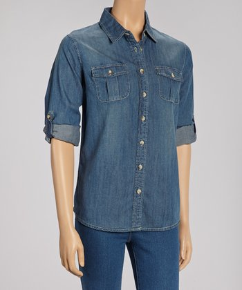 Dark Blue Denim Button-Up
