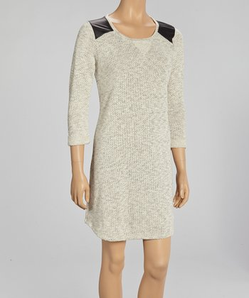 Natural Heathered Elbow-Sleeve Dress
