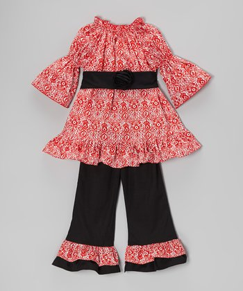 Red & Black Damask Tunic & Ruffle Pants - Infant, Toddler & Girls