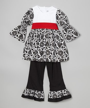 Black & White Damask Tunic & Ruffle Pants - Toddler & Girls