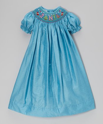 Blue 'Santa' Smocked Bishop Dress - Infant, Toddler & Girls