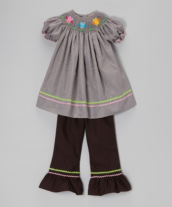 Brown Smocked Owl Top & Ruffle Pants - Infant, Toddler & Girls