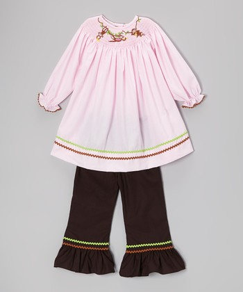 Pink Smocked Monkey Tunic & Brown Pants - Toddler & Girls