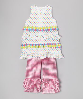 White Polka Dot Tunic & Pink Zigzag Ruffle Pants - Toddler & Girls