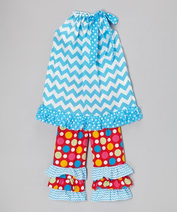 Blue Zigzag Tunic & Red Ruffle Pants - Infant, Toddler & Girls