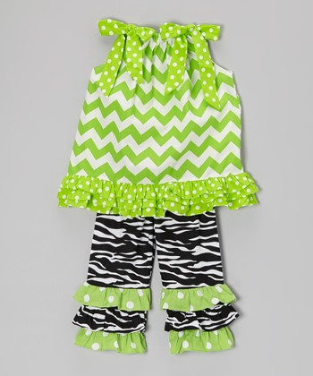 Green Zigzag Tunic & Black Ruffle Pants - Infant, Toddler & Girls