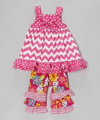 Pink Zigzag Tunic & Floral Ruffle Pants - Infant, Toddler & Girls