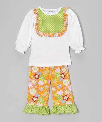 White Bib Top & Orange Ruffle Pants - Infant, Toddler & Girls
