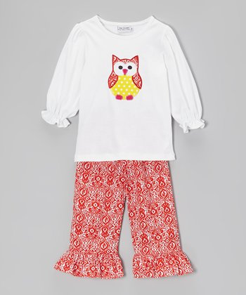 White Owl Top & Red Ruffle Pants - Infant, Toddler & Girls