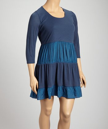 Navy & Blue Panel Scoop Neck Dress - Plus
