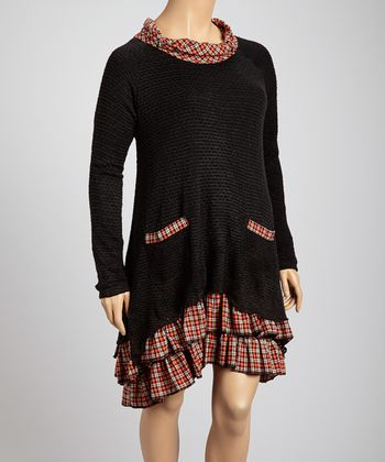 Black & Red Plaid Accent Dress - Plus