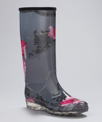 Gray Flower Rain Boot