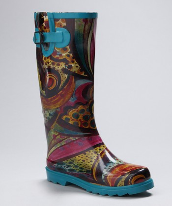 Blue & Yellow Monet Rain Boot