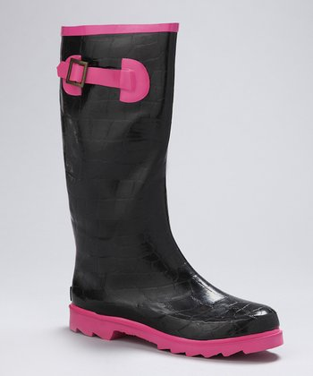 Black & Pink Croco Rain Boot