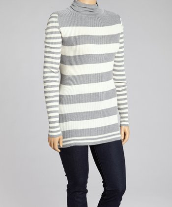 Heather Gray Stripe Turtleneck Sweater - Plus