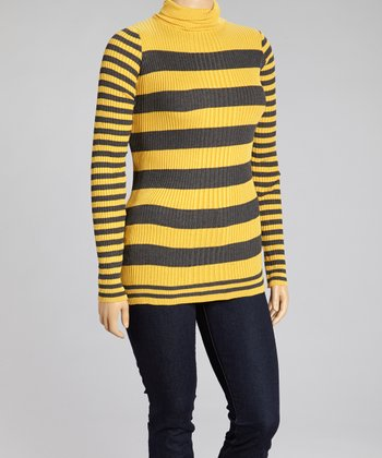 Mustard Stripe Turtleneck Sweater - Plus