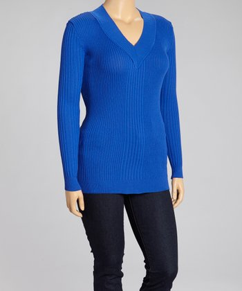 Royal Blue V-Neck Sweater - Plus