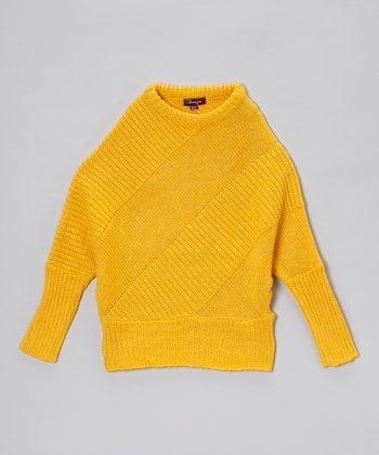 Bright Maize & Gold Lurex Dolman Sweater - Girls