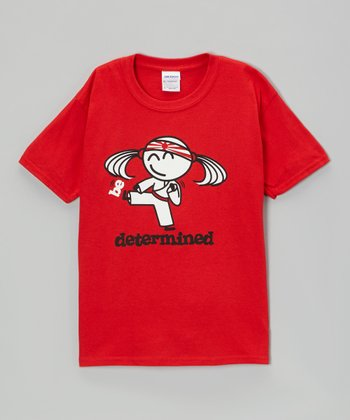 Red 'Be Determined' Relaxed-Fit Tee - Girls