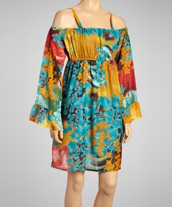 Teal & Mustard Floral Cutout Dress