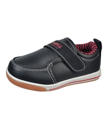 Black & Red Faux Leather Slip-On Sneaker