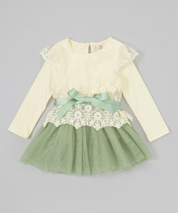 Ivory & Green Lace Tutu Dress - Infant, Toddler & Girls