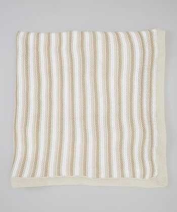 Beige Stripe Knit Receiving Blanket