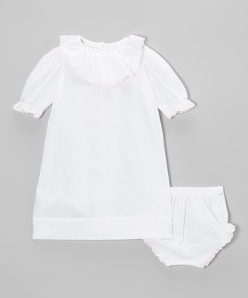 White & Pink Laurent Ruffle Gown & Diaper Cover