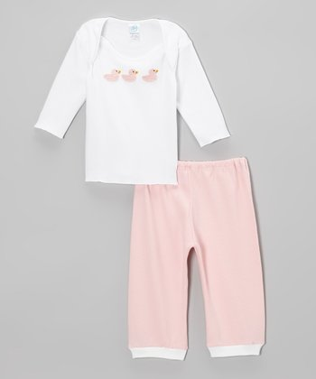 White & Pink Duck Tee & Pants