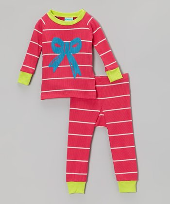 Lime & Pink Stripe Bow Pajama Set - Infant & Toddler