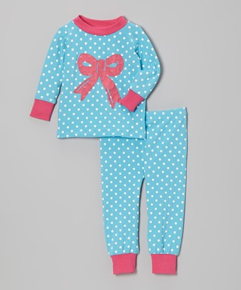 Turquoise & Pink Dot Bow Pajama Set - Infant, Toddler & Girls