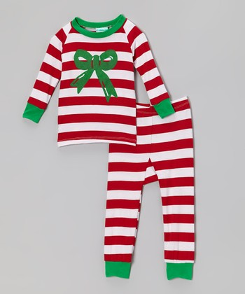Red & Green Stripe Bow Pajama Set - Infant & Toddler