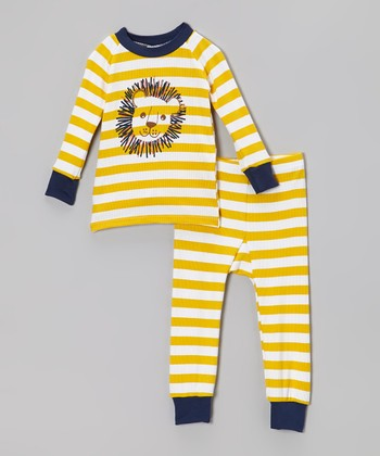 Yellow & Navy Stripe Lion Pajama Set - Infant & Toddler