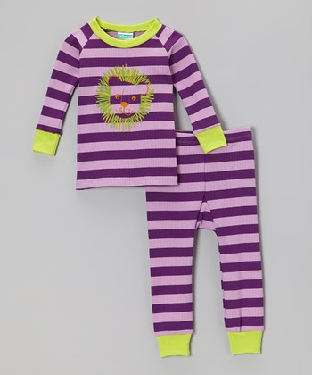 Purple & Lime Stripe Lion Pajama Set - Infant