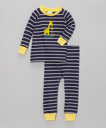 Navy & Yellow Stripe Giraffe Pajama Set - Infant & Toddler