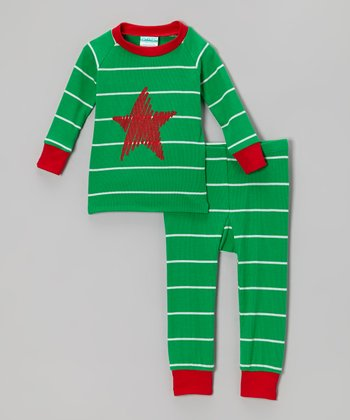 Green & Red Stripe Star Pajama Set - Infant